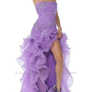 Dresses & Skirts - Strapless Beaded Ruffled High Low Dress Purple